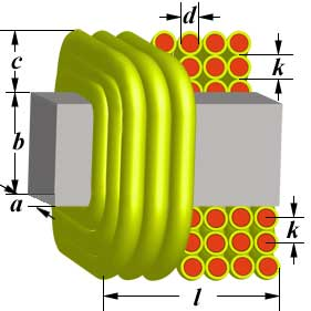 Multilayer coil inductance on rectangular former